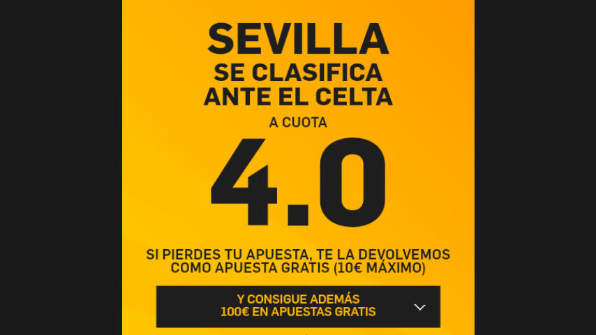 Supercuota 4€ Gana eliminatoria Sevilla ¡ SOLO EN BETFAIR!
